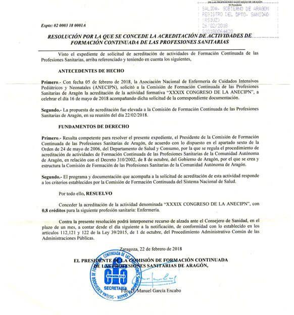 Resolución Acreditación Formación Continuada 2018